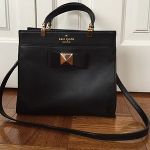 Kate Spade black leather satchel with bow