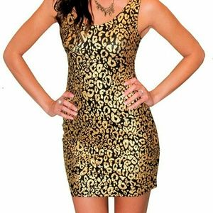 Body con Gold and black leopard print dress