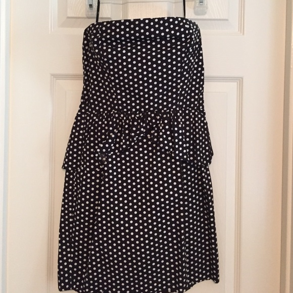 Kimchi Blue Dresses Strapless Black And White Polka Dot Dress