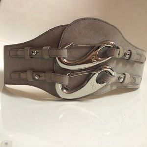 MONIKA CHIANG Designer Gray Wide Statement Belt