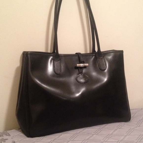 1632429d625 Longchamp Handbags - Longchamp Roseau Black Large Leather Tote