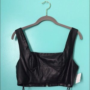 Faux Leather Crop-Top
