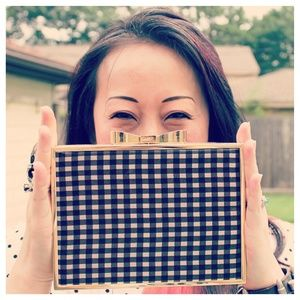 Betsey Johnson B&W Gingham Clutch
