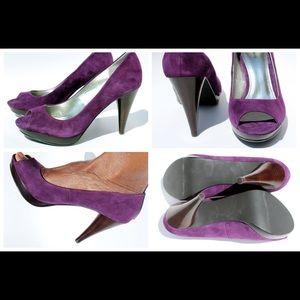 Purple Peep Toe Suede Pump