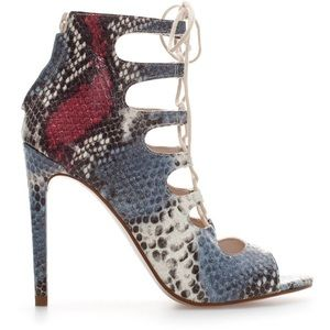 NEW IN BOX-ZARA SNAKESKIN LEATHER HIGH ANKLE