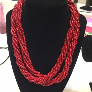 Accessories - SOLD! Pre-loved red twisted/beaded necklace