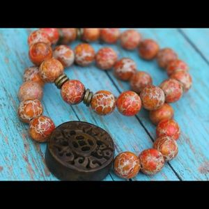 Jewelry - Wooden Centerpiece & Orange Jasper Bracelet