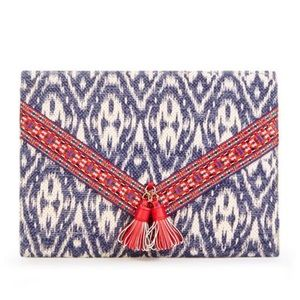 Ikat Print Envelope Clutch