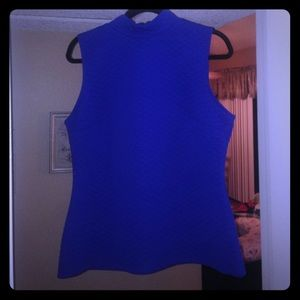 Quilted look mock neck top - Cobalt