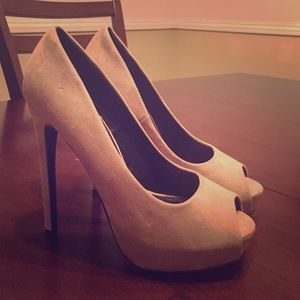 Nude forever 21 peep toe pumps