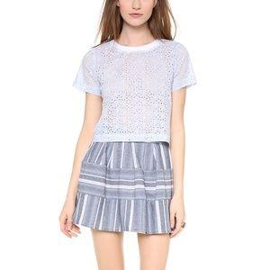 Blue white skirt stripe chambray denim look