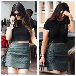 Topshop Quilted Faux Leather Skirt Kylie Jenner