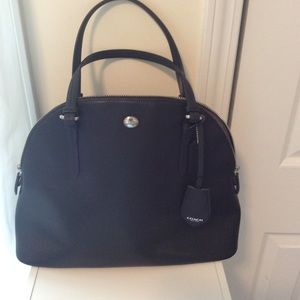 Coach Black Leather Peyton Dome Satchel