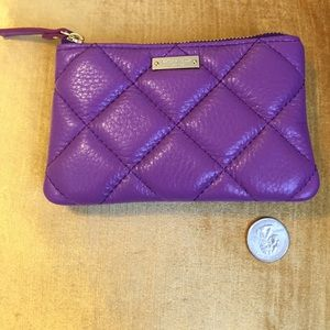 Kate spade purple leather quilted pouch. NWOT