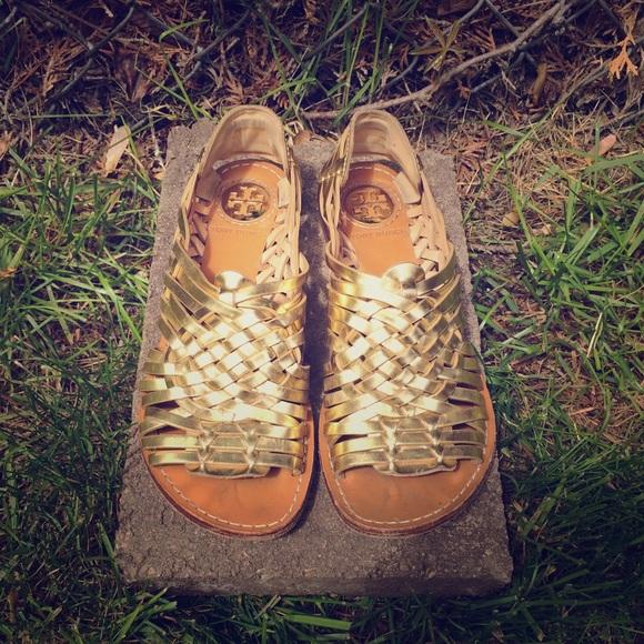 426a11dce25 Tory Burch gold huarache sandals. M 55634d22fbf6f9744a00c22a