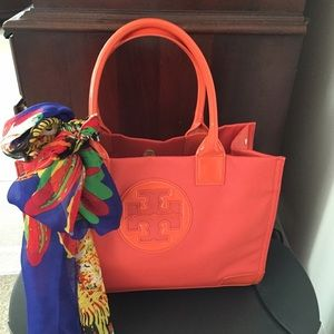 Tory Burch Handbags - Authentic Tory Burch Orange Tote with Scarf