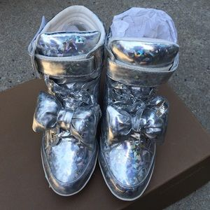 d5d0c9dbaefd Privileged Shoes Shoes - Amore Hologram Bow Lace Up Sneaker Wedges