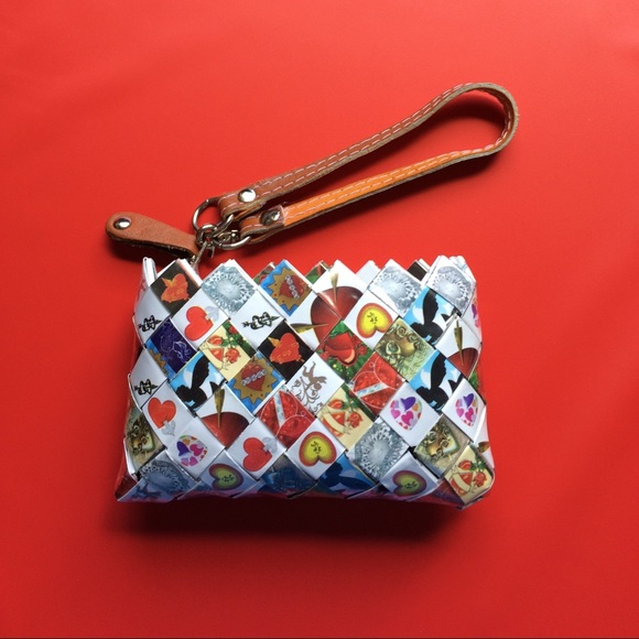 Clutch purse made out of recycled materials.