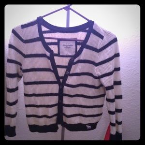 Navy and White Striped Knit Cardigan