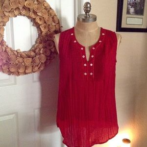 Art and Soul Tops - Art & Soul Red Accordion Beaded Top