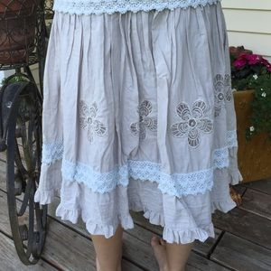Floral Grey Skirt with Lace Trim