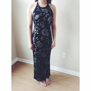 Vintage Dresses & Skirts - Black Floral Mesh Overlay Gown