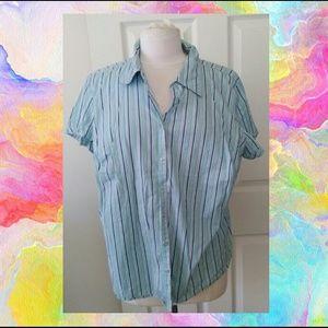 At Last Tops - Striped short sleeve top shirt w/snap closure
