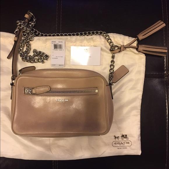 341278a115ce Coach Handbags - coach beige leather cross body purse w chain strap