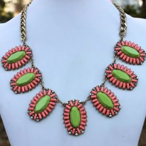 50 jewelry pink and green statement necklace w