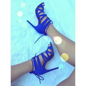 Shoes - Royal blue faux suede strappy lace up heels
