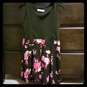 Dresses & Skirts - Black dress with red ad pink flowers