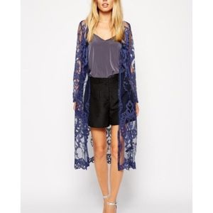 ASOS Kimono Duster in Blue Lace size US 4