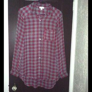 Olsenboye High-Low Plaid Shirt