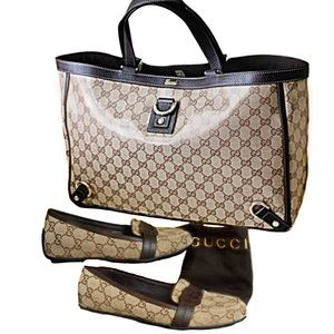 AUTH GUCCI Crystal Abbey Brown Tote Gold Hardware