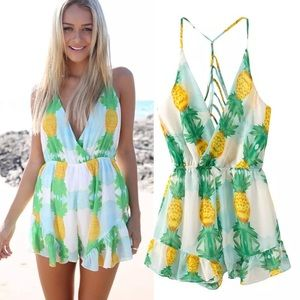 Dresses & Skirts - Pineapple romper jumper yellow boho cutout strappy