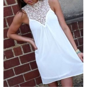 White crochet hi low dress