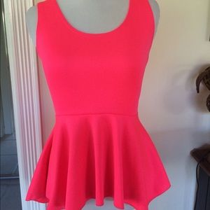 Neon pink high low peplum