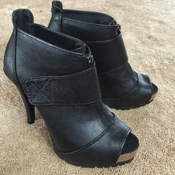 Soldsimply Vera Ankle Booties With Peep