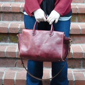 Madewell burgundy leather bag with crossbody strap