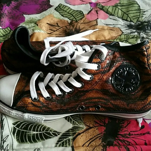 5dc9e1ca36c4 Converse Shoes - Sequin tiger print Hi top Converse