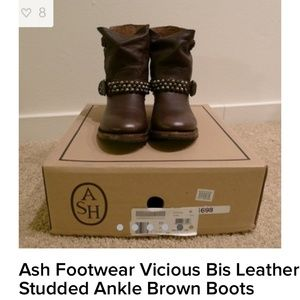 Ash vicious bis leather studded ankle brown boot