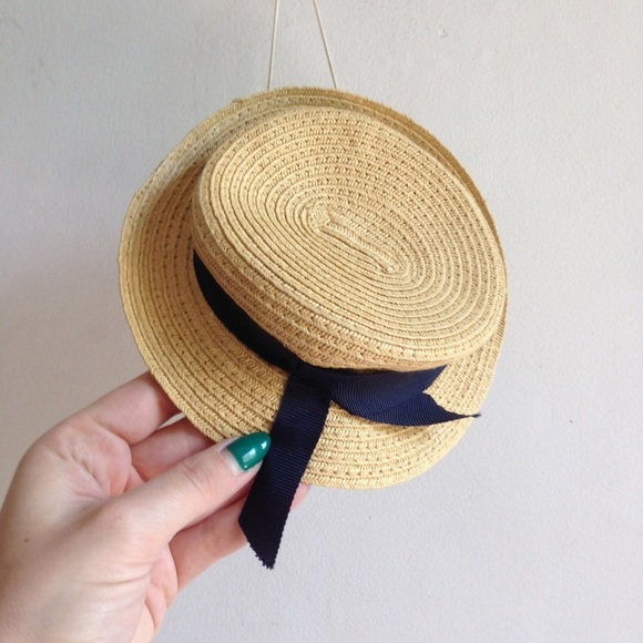 a0173ab1 Accessories | The Cutest Mini Straw Boater Hat With Navy Ribbon ...