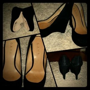 L.A.M.B. Black Suede Platform Wedge