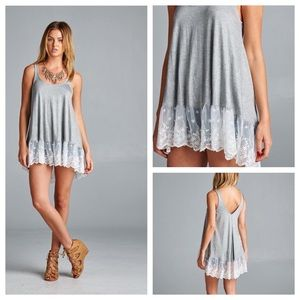 Knit tank with lace contrast frill