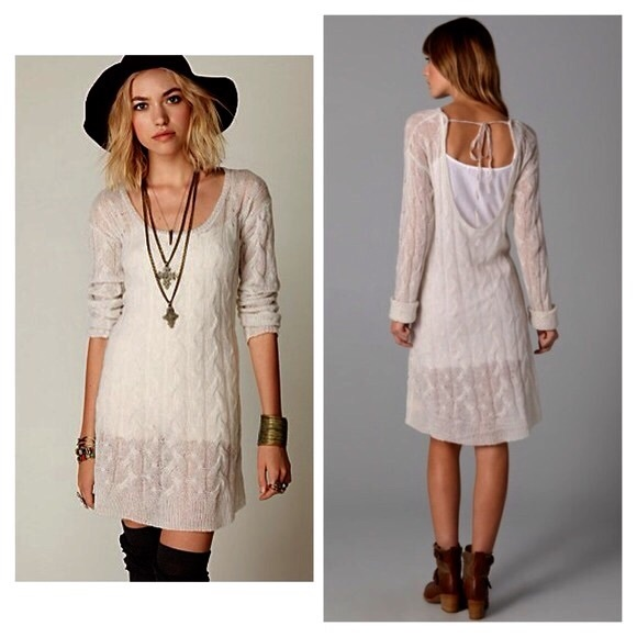 Free People 🚫sold🚫free People Mohair Cream Sweater Dress