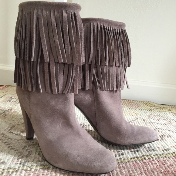 39% off Zara Shoes - ❤️sold❤ Zara gray suede fringe boots ...
