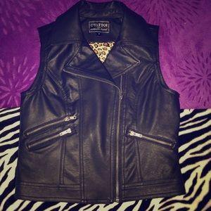 Black Faux Leather Vest / Jacket