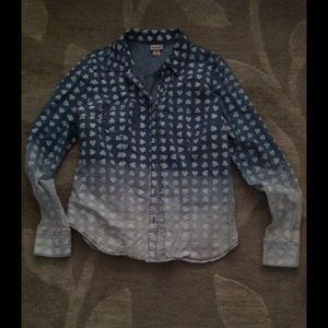 Mossimo Faded Denim Shirt with Hearts