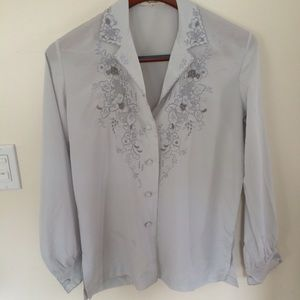 Tops - Vintage Embroidered Silky Blouse