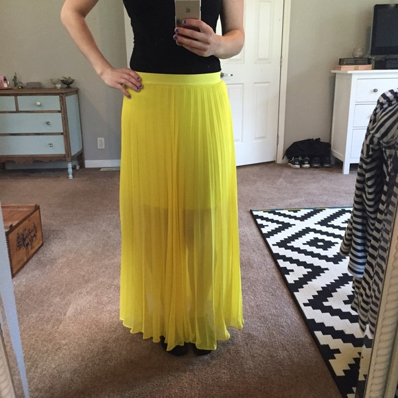 bright yellow sheer maxi skirt from chelsea s